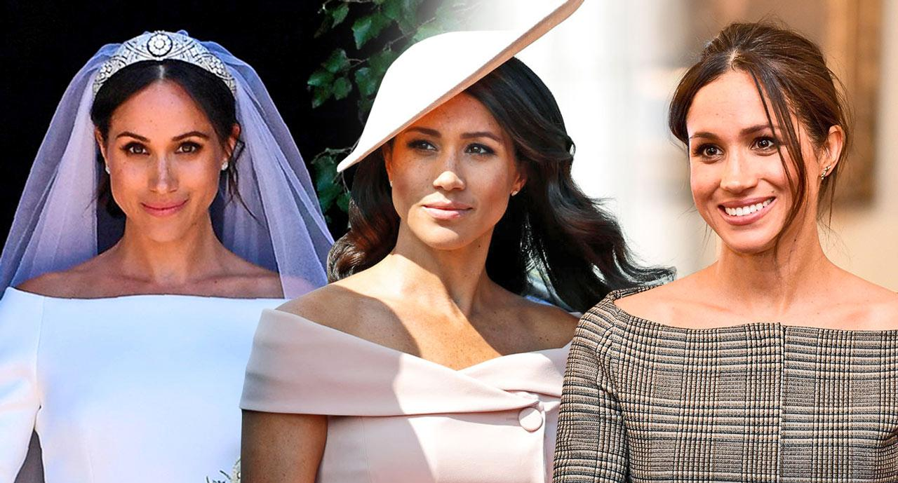 <p>Meghan Markle's silhouette of choice seems to be the off-the-shoulder look. (Photo: Getty Images; photo art: Quinn Lemmers for Yahoo Lifestyle) </p>