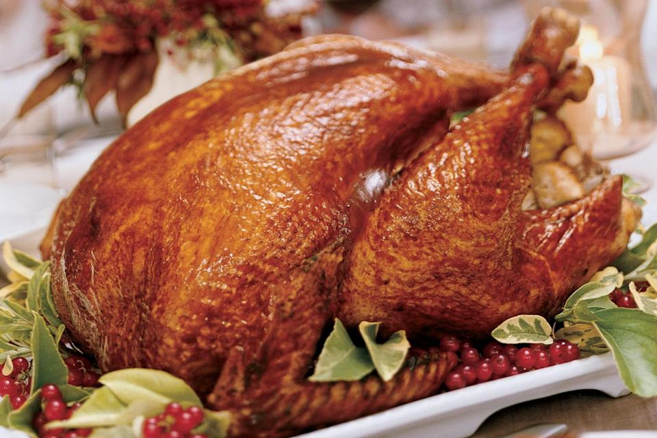 """Unlike most brined Thanksgiving turkeys, this one can be stuffed because the apple-cider brine contains less salt than the typical recipe. <a href=""""https://www.epicurious.com/recipes/food/views/cider-brined-and-glazed-turkey-233148?mbid=synd_yahoo_rss"""" rel=""""nofollow noopener"""" target=""""_blank"""" data-ylk=""""slk:See recipe."""" class=""""link rapid-noclick-resp"""">See recipe.</a>"""