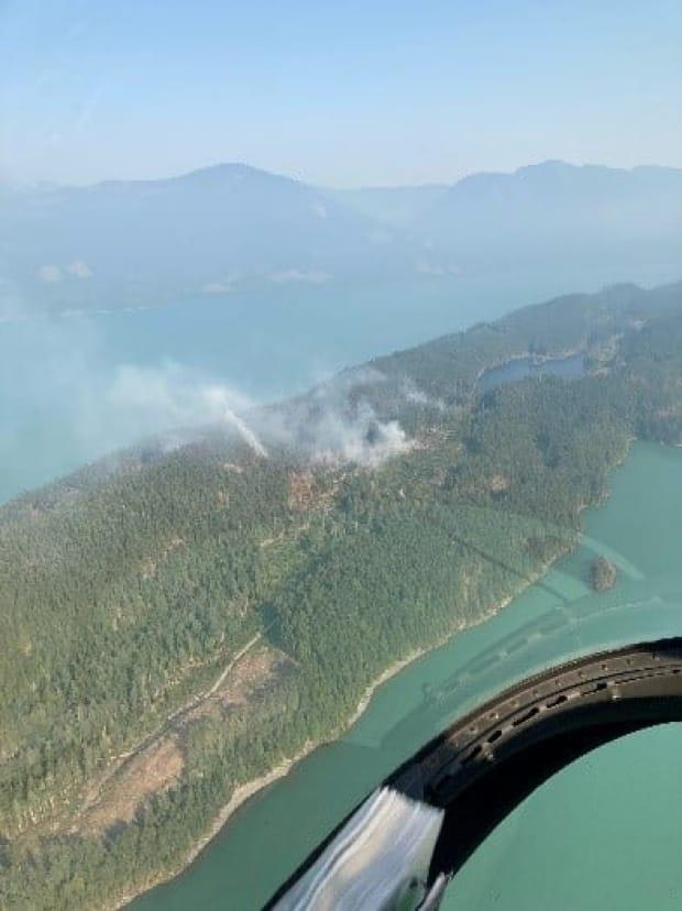 The North End Long Island fire on Harrison Lake has prompted an evacuation alert for eight cabins on the northern half of the island. (B.C. Wildfire Service/Facebook - image credit)