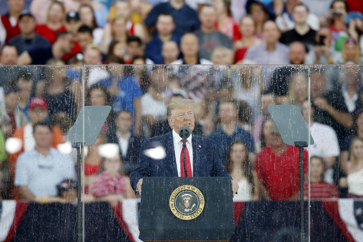 President Trump speaks during an Independence Day celebration in front of the Lincoln Memorial. (Photo: Alex Brandon/AP)