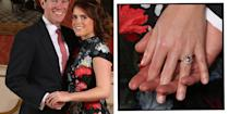 """<p>Not to dissimilar to her mother's engagement ring, Eugenie's also features a ruby surrounded by diamonds.</p><p><a href=""""https://www.elle.com/uk/fashion/celebrity-style/g23724093/princess-eugenie-wedding-guests-outfits/"""" rel=""""nofollow noopener"""" target=""""_blank"""" data-ylk=""""slk:Husband Jack Brooksbank"""" class=""""link rapid-noclick-resp"""">Husband Jack Brooksbank</a> explained in their 2018 engagement interview that he had found a pink padparadscha sapphire but did not put it in the ring until Eugenie had signed off on it. Needless to say, she approved.</p><p><a class=""""link rapid-noclick-resp"""" href=""""https://go.redirectingat.com?id=127X1599956&url=https%3A%2F%2Fwww.johnlewis.com%2Fa-b-davis-9ct-yellow-gold-oval-ruby-and-diamond-engagement-ring%2Fp3603970&sref=https%3A%2F%2Fwww.elle.com%2Fuk%2Flife-and-culture%2Fwedding%2Fg28785354%2Froyal-family-engagement-rings-meghan-markle-kate-middleton-queen%2F"""" rel=""""nofollow noopener"""" target=""""_blank"""" data-ylk=""""slk:SHOP SIMILAR"""">SHOP SIMILAR</a> A B Davis 9ct Yellow Gold Oval Ruby and Diamond Engagement Ring, John Lewis, £295</p>"""