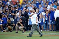 <p>Former Los Angeles Dodgers player Fernando Valenzuela walks onto the field prior to throwing out the ceremonial first pitch before game two of the 2017 World Series between the Houston Astros and the Los Angeles Dodgers at Dodger Stadium on October 25, 2017 in Los Angeles, California. (Photo by Ezra Shaw/Getty Images) </p>