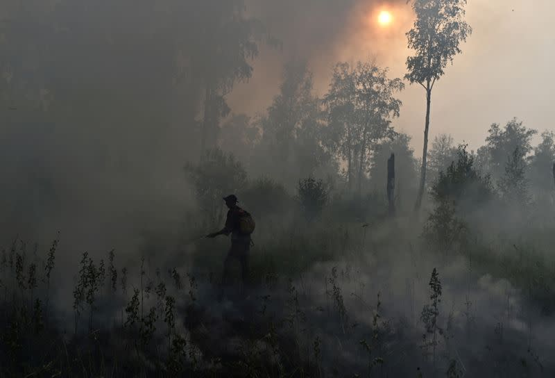 FILE PHOTO: Specialists put out a forest fire in Omsk Region