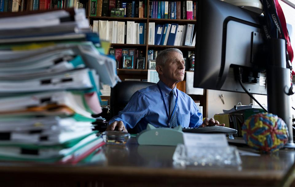Dr. Anthony Fauci, director of the National Institute for Allergy and Infectious Diseases, works in his office at the National Institutes of Health on Dec. 19, 2017, in Bethesda, Maryland. (Photo: AP Photo/Carolyn Kaster)