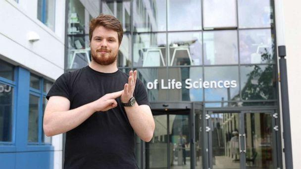 PHOTO: Liam McMulkin created more than 100 new signs for scientific terms to help himself and future students using British Sign Language. (University of Dundee)
