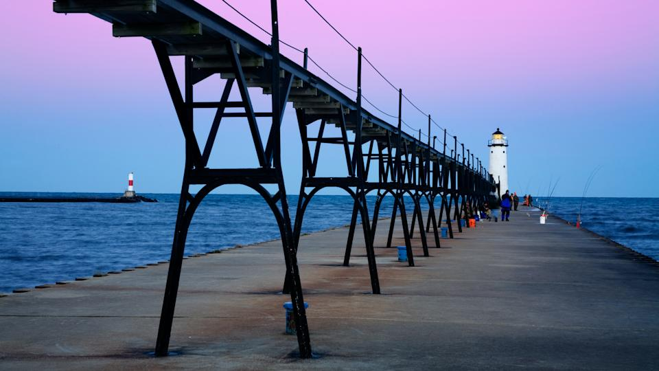 Pier Fishing From Manistee North Pierhead Lighthouse, Michigan - Image.