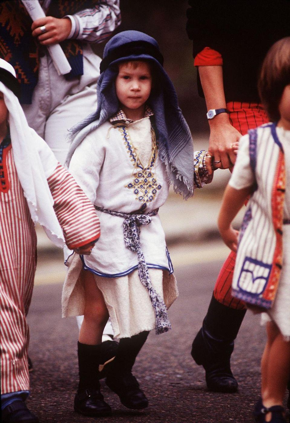 <p>Prince Harry may take the cake as the most festive holiday dresser ever. In 1988, he wore a full shepherds costume to participate in the Christmas nativity play at his nursery school. </p>