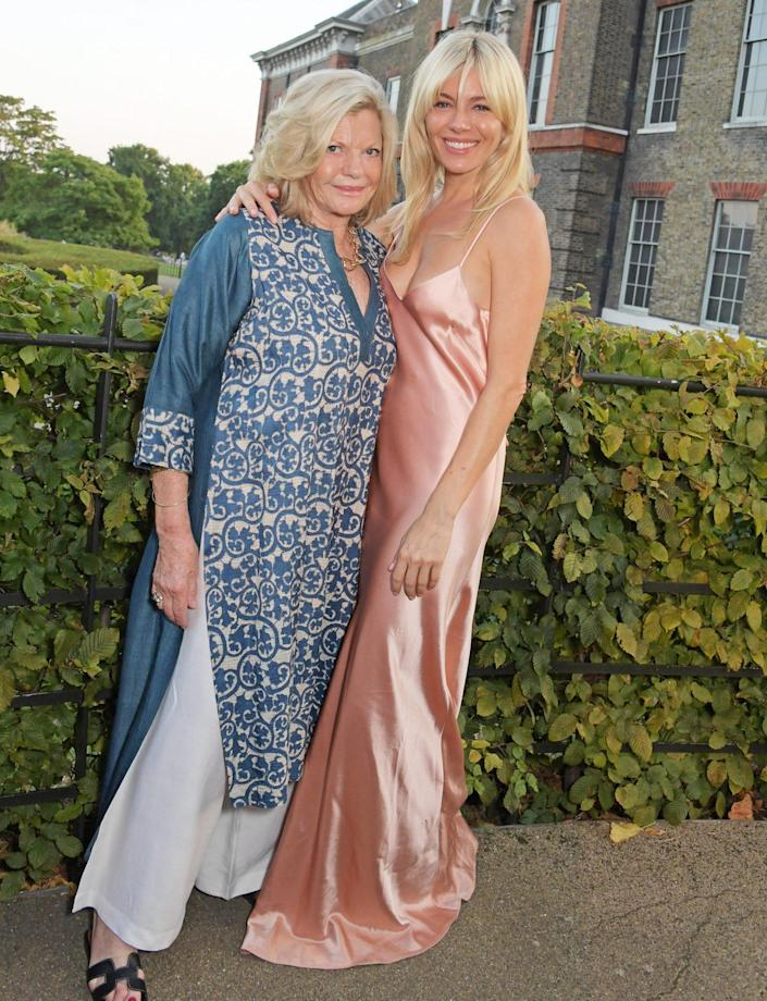 <p>Sienna Miller and her mom Jo Miller attend the ATG Summer Party, which she hosted along with Ambassador Theatre Group CEO Mark Cornell to support Sir Sam Mendes and his Theatre Artists Fund at Kensington Palace on Sept. 6 in London. </p>