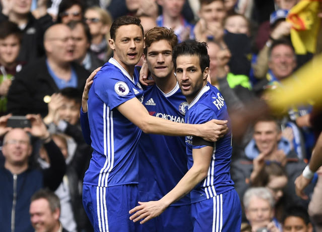Nemanja Matic, Marcos Alonso and Cesc Fabregas