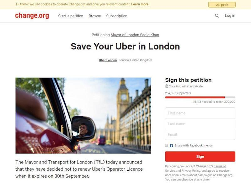 A petition calling on TfL to reverse the decision has reached more than 250,000 signatures (Change.org)