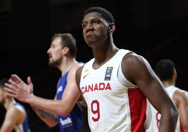 Canada's RJ Barrett reacts after making a basket during a 103-101 overtime loss to the Czech Republic on Sunday in the FIBA Olympic qualifying tournament in Victoria, B.C. (Chad Hipolito/The Canadian Press - image credit)