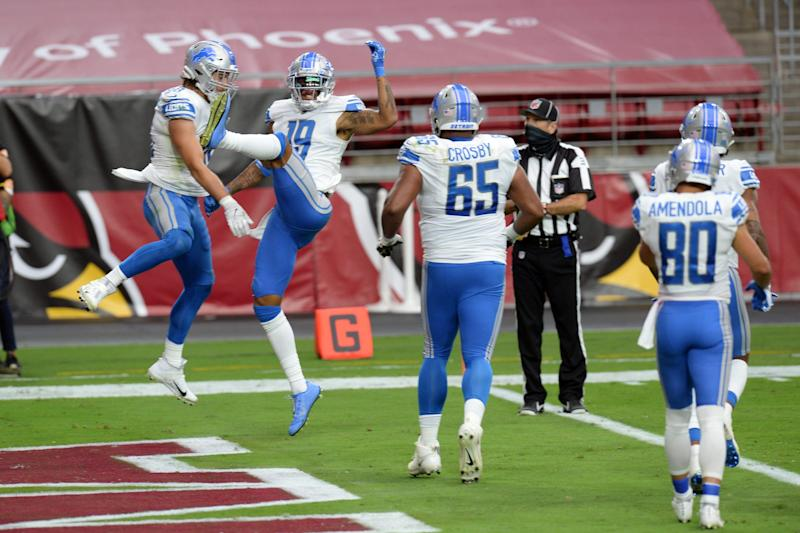 Detroit Lions wide receiver Kenny Golladay (19) celebrates a touchdown catch against the Arizona Cardinals during the first half Sept. 27, 2020, at State Farm Stadium.