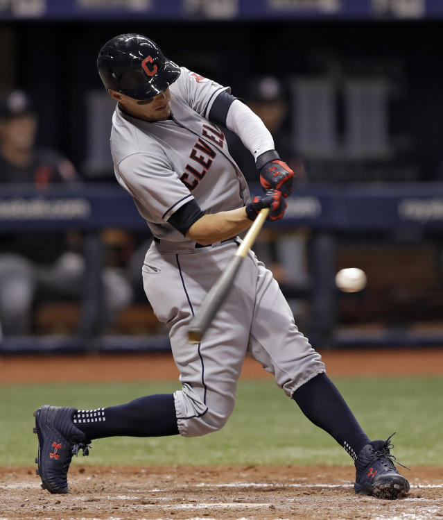 Cleveland Indians' Brandon Guyer lines a two-run double off Tampa Bay Rays pitcher Adam Kolarek during the sixth inning of a baseball game Monday, Sept. 10, 2018, in St. Petersburg, Fla. (AP Photo/Chris O'Meara)