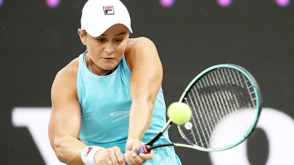 Ash Barty, pictured here in action at the Volvo Car Open in Charleston.