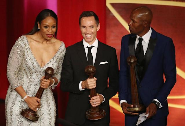 Tina Thompson, Steve Nash and Ray Allen were among the basketball greats inducted into the Basketball Hall of Fame Friday. (Getty)