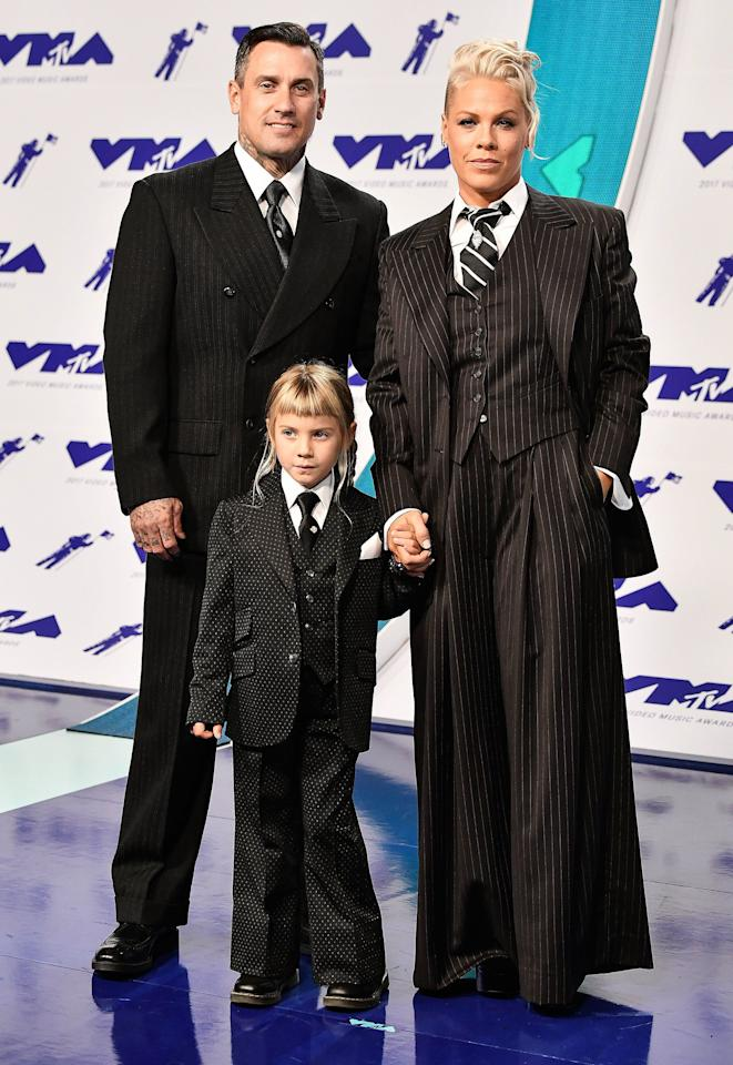 "They came to slay. After standing out on the red carpet in a suit that matched those of her husband and daughter, Pink gave <a href=""https://people.com/music/mtv-vmas-pink-receives-video-vanguard-award/"">one of the most moving acceptance speeches ever</a> while accepting her Video Vanguard Award."