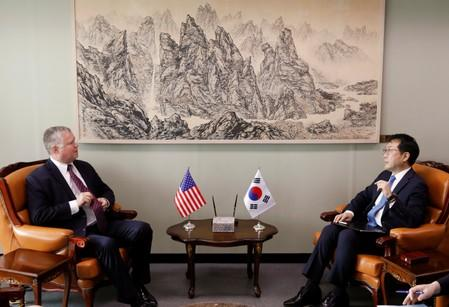 U.S. special envoy for North Korea Stephen Biegun talks with his South Korean counterpart Lee Do-hoon during their meeting at the Foreign Ministry in Seoul