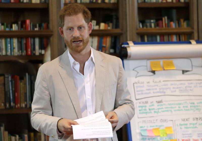 WINDSOR, ENGLAND - JULY 23: Prince Harry, Duke of Sussex attends Dr. Jane Goodall's Roots & Shoots Global Leadership Meeting at Windsor Castle on July 23, 2019 in Windsor, England. (Photo by Kirsty Wigglesworth - WPA Pool/Getty Images)