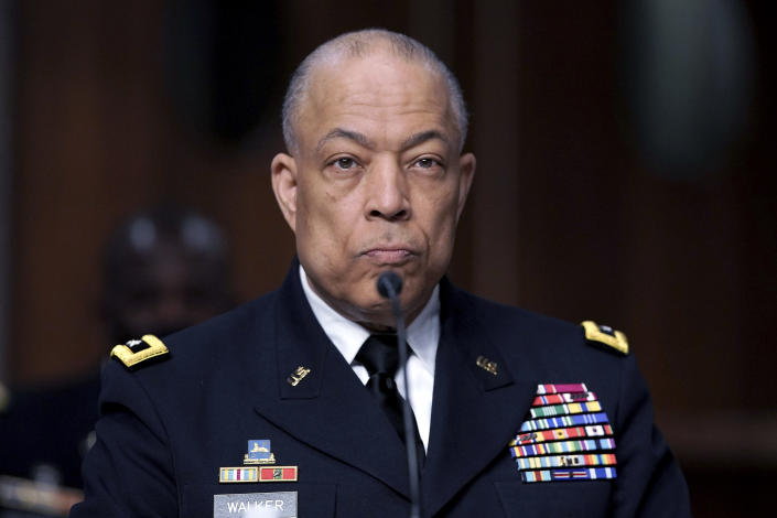 Army Maj. Gen. William Walker, Commanding General of the District of Columbia National Guard listens during a Senate Committee on Homeland Security and Governmental Affairs and Senate Committee on Rules and Administration joint hearing Wednesday, March 3, 2021, examining the January 6, attack on the U.S. Capitol in Washington. (Greg Nash/Pool via AP)