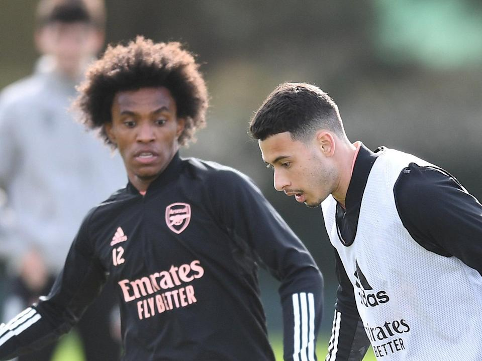 Willian (left) and Gabriel Martinelli in Arsenal training (Arsenal FC via Getty Images)