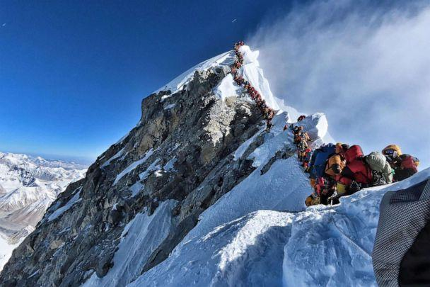 PHOTO: This handout photo taken on May 22, 2019 and released by climber Nirmal Purja's Project Possible expedition shows heavy traffic of mountain climbers lining up to stand at the summit of Mount Everest. (Project Possible/AFP/Getty Images)