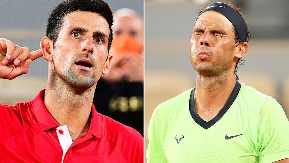 Seen here, Novak Djokovic and Rafael Nadal with contrasting reactions during their French Open semi-final.