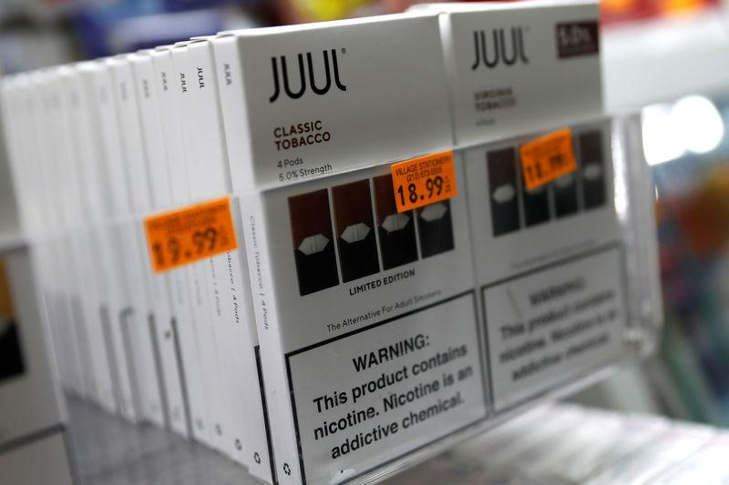 Juul brand vaping pens are seen for sale in a shop in Manhattan in New York City