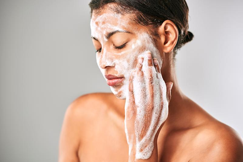 You might have heard about double cleansing as a method to clean your skin at the end of the day and remove hard-to-lift excess makeup. It's also an essential first step for any facial.  (Photo: Moyo Studio via Getty Images)