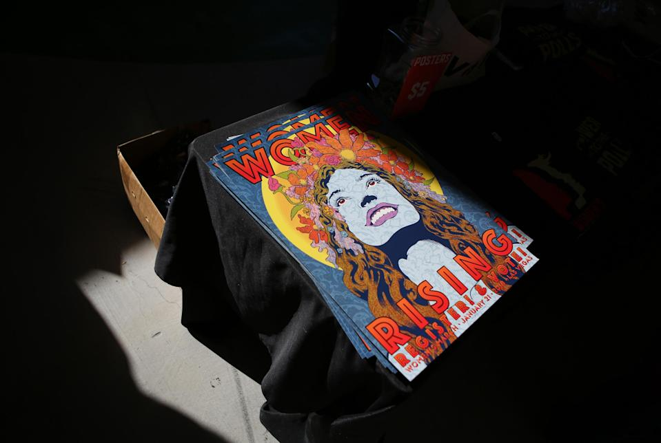 <p>This Chuck Sperry designed poster was among the official Women's March merch on Sunday. (Photo: Ronda Churchill for Yahoo Lifestyle) </p>