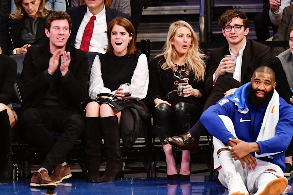 <p>Double date! Jack and Eugenie sat court side with singer Ellie Goulding and her now-husband Casping Jopling at a 2017 New York Knicks game at Madison Square Garden.</p>