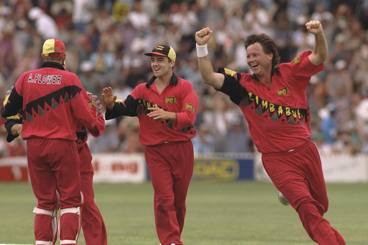 3  Jan 1997:  Nasser Hussain of England is out as Eddo Brandes of Zimbabwe (right) collects a hat-trick during the third one day international between Zimbabwe and England in Harare, Zimbabwe. Mandatory Credit: Stu Forster/Allsport
