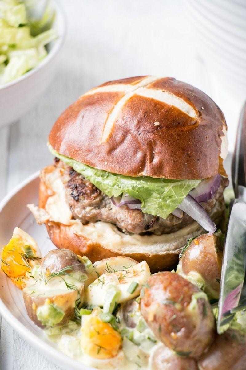 """<p>Apples and pork are a classic flavor combination, so it's no surprise they taste just as delicious as the base of these burger patties. Serve them on pretzel buns with mustard, mayo, or your favorite condiment. </p><p><strong>Get the recipe at <a href=""""https://www.mykitchenlove.com/apple-mustard-pork-burgers/"""" rel=""""nofollow noopener"""" target=""""_blank"""" data-ylk=""""slk:My Kitchen Love"""" class=""""link rapid-noclick-resp"""">My Kitchen Love</a>.</strong></p>"""