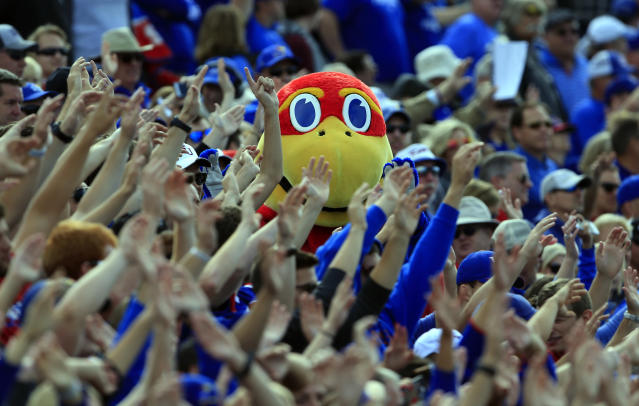 The Kansas Jayhawks mascot has had very little to cheer about in regards to football. (AP)