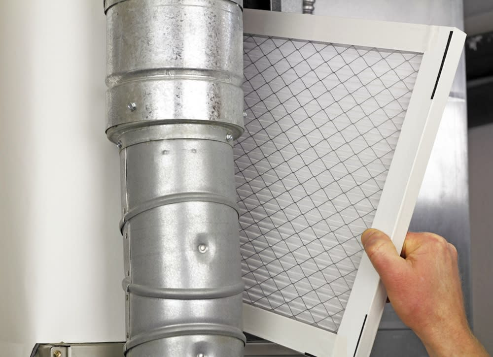 "<body><p>Furnace and air conditioner filters are your first lines of defense against indoor pollen, mold, and dust. Clean the vents and <a rel=""nofollow"" href="" http://www.bobvila.com/articles/furnace-filter/?bv=yahoo"" title=""http://www.bobvila.com/articles/furnace-filter/"" target=""_blank"">replace filters</a> monthly to trap pollutants and keep them from being recycled throughout the home.</p></body>"