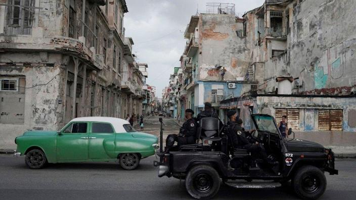 Security forces on the streets of Havana