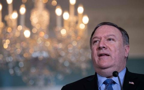 Mike Pompeo has been travelling in the Middle East - Credit: NICHOLAS KAMM/AFP/Getty Images
