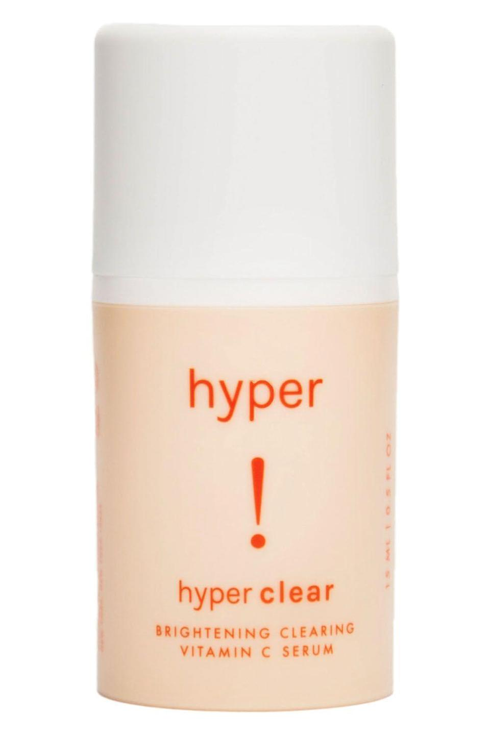 """<p>gethyperskin.com</p><p><strong>$36.00</strong></p><p><a href=""""https://gethyperskin.com/products/hyper-clear"""" rel=""""nofollow noopener"""" target=""""_blank"""" data-ylk=""""slk:Shop Now"""" class=""""link rapid-noclick-resp"""">Shop Now</a></p><p>NGL, my main skincare goal is to look bright and glowy AF. That means I've pretty much tried every single serum that claims to fade hyperpigmentation (aka those dark spots and marks that zits can leave behind). And after all of those tests and trials, I can definitely tell you this is one of the best. </p><p>This serum contains 15 percent vitamin C and E—two <strong>antioxidant powerhouses that</strong> <strong>come together with kojic acid and turmeric </strong><strong>to brighten your skin, cancel out dullness, and fade <a href=""""https://www.cosmopolitan.com/style-beauty/beauty/advice/a42924/how-to-get-and-keep-skin-spot-free/"""" rel=""""nofollow noopener"""" target=""""_blank"""" data-ylk=""""slk:dark spots"""" class=""""link rapid-noclick-resp"""">dark spots</a>. </strong>There's also a combination of natural botanicals in the formula that help prevent future breakouts.<br></p>"""
