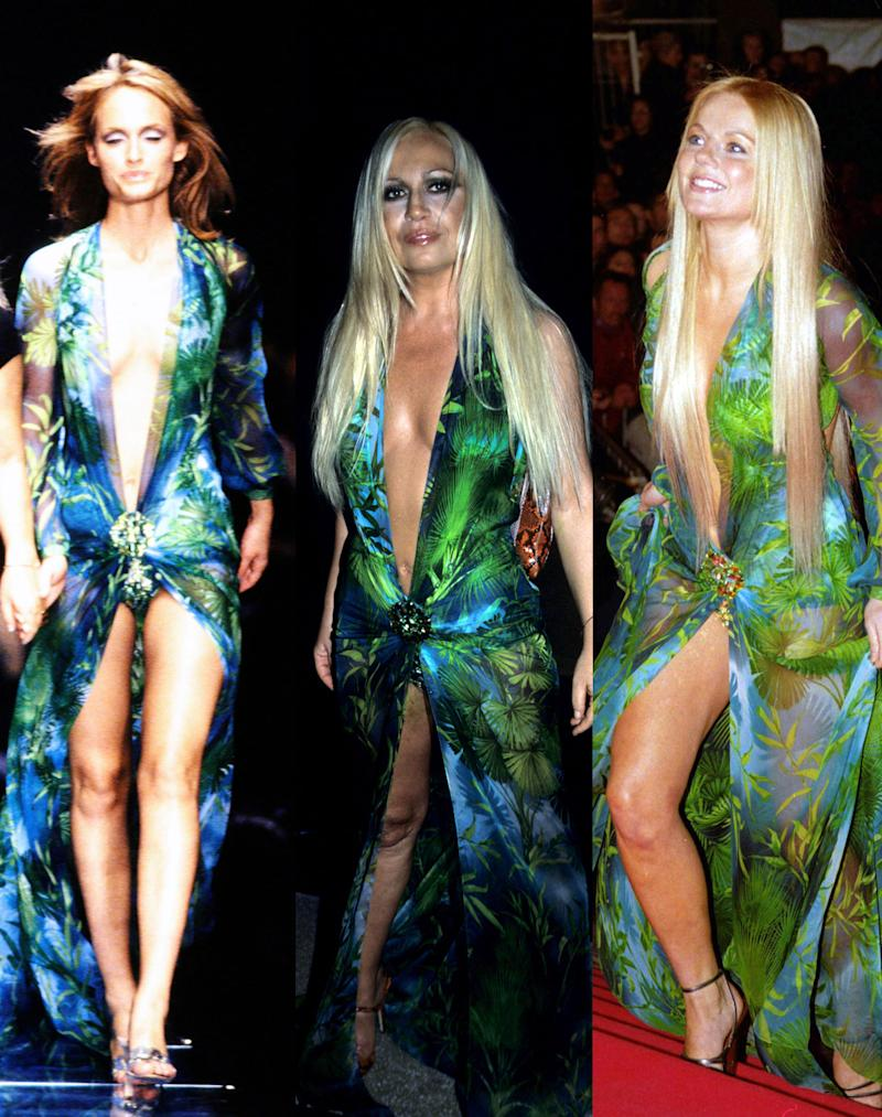 Amber Valletta (L), Donatella Versace (center), and Geri Halliwell all wore the Versace dress before Jennifer Lopez. (Photo: Shutterstock/Getty Images)