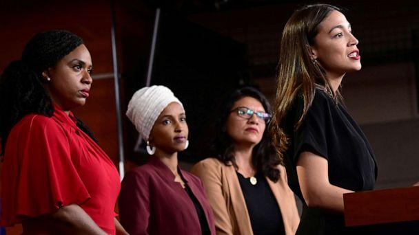 PHOTO: From left, Representatives Ayanna Pressley, Ilhan Omar, Rashida Tlaib and Alexandria Ocasio-Cortez hold a news conference on Capitol Hill in Washington, D.C., July 15, 2019. (Erin Scott/Reuters)