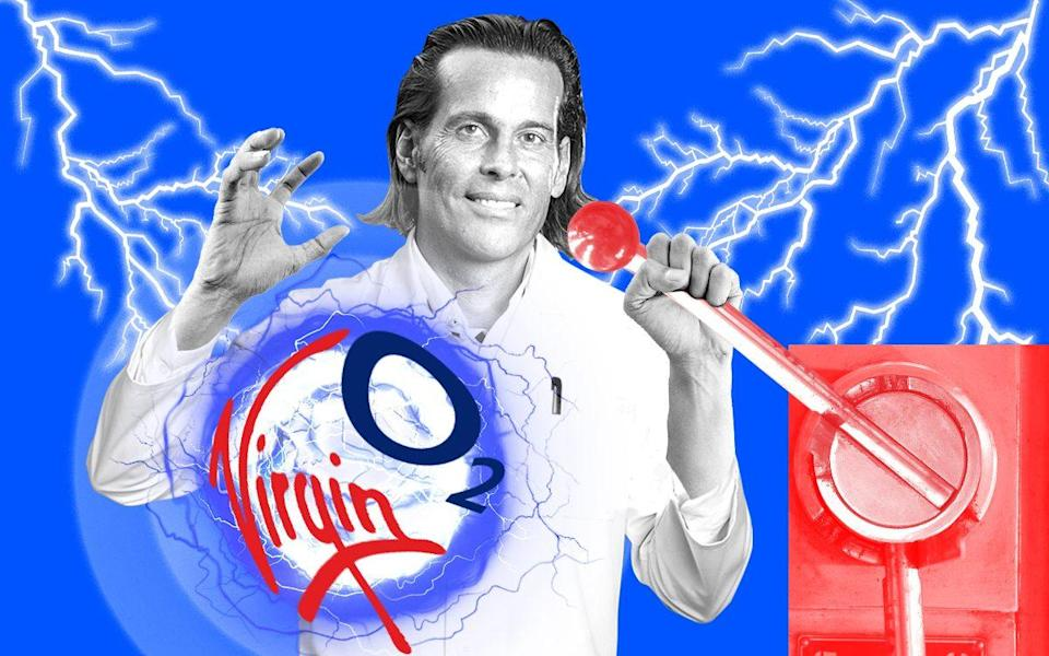 Lutz Schuler with the Virgin and O2 logos (illustration)