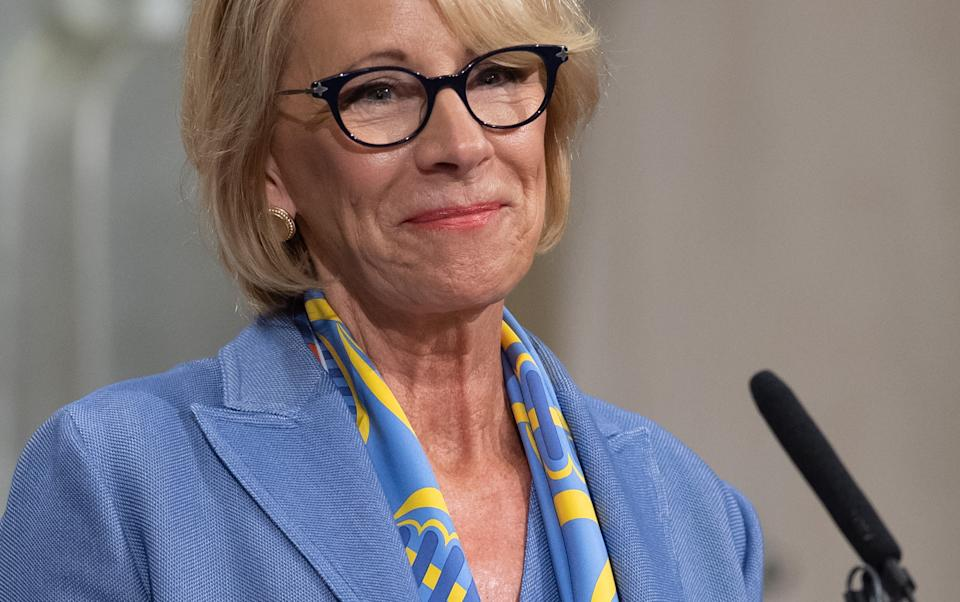 US Secretary of Education Betsy DeVos speaks during the Summit on Combating Anti-Semitism at the Department of Justice in Washington, DC, July 15, 2019. (Photo by SAUL LOEB / AFP)        (Photo credit should read SAUL LOEB/AFP via Getty Images)