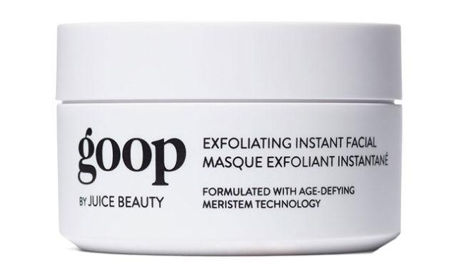 "<p><strong>Exfoliating Instant Facial, $125, <a rel=""nofollow"" href=""https://shop.goop.com/shop/products/exfoliating-instant-facial"">shop.goop.com</a>.</strong></p><p><strong>The Key Ingredient: </strong>AHAs, BHAs, and vitamin B5</p><p><strong>The Effect:</strong> No need to book a pricey facial—this mask exfoliates skin using <em>both</em> AHAs and BHAs for a fresh face, while vitamin B5 keeps skin soft and soothed.</p>"