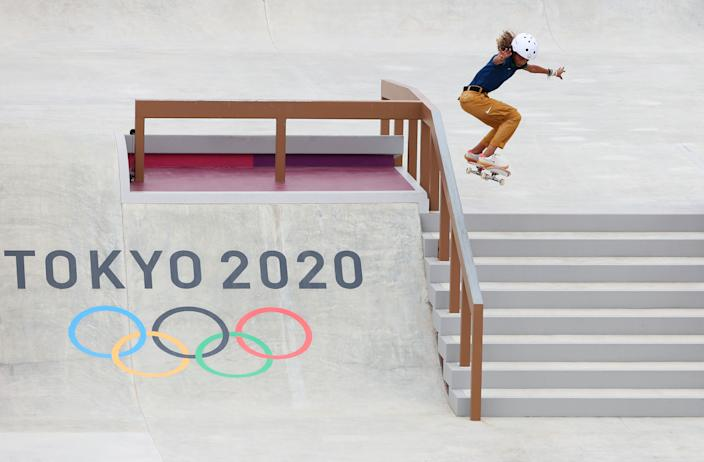 <p>TOKYO, JAPAN - JULY 26: Rayssa Leal of Team Brazil competes during the Women's Street Prelims Heat 4 on day three of the Tokyo 2020 Olympic Games at Ariake Urban Sports Park on July 26, 2021 in Tokyo, Japan. (Photo by Patrick Smith/Getty Images)</p>