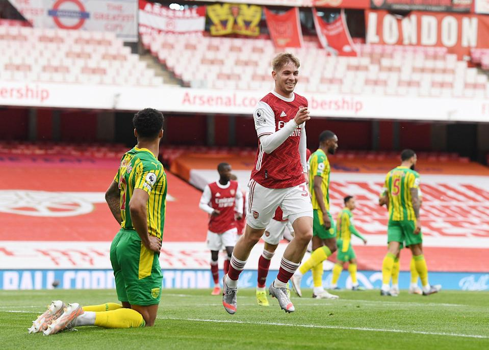 Emile Smith Rowe celebrates scoring for Arsenal against West Brom (Getty)