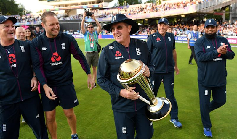 Trevor Bayliss led England to World Cup glory this summer. (Photo by Gareth Copley-IDI/IDI via Getty Images)