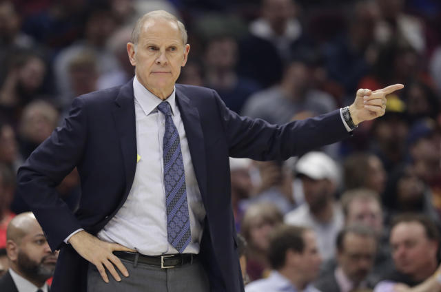 Cleveland Cavaliers head coach John Beilein gives instructions to players in the first half of an NBA basketball game against the Memphis Grizzlies, Friday, Dec. 20, 2019, in Cleveland. (AP Photo/Tony Dejak)