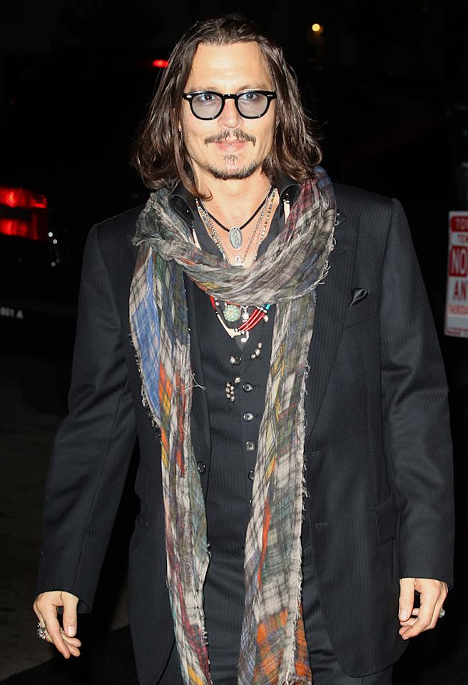 Johnny Depp goes to David Furnish's 50th Birthday Bash. Pictured: Johnny Depp Ref: SPL451642 261012 Picture by: Brian Lindensmith / Splash News Splash News and Pictures Los Angeles: 310-821-2666 New York: 212-619-2666 London: 870-934-2666 photodesk@splashnews.com