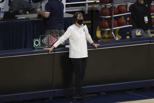 Stanford head coach Tara VanDerveer is interviewed after an NCAA college basketball game against California, Sunday, Dec. 13, 2020, in Berkeley, Calif. With the victory, VanDerveer tied Pat Summitt's record for most career wins by a women's basketball coach at 1,098 wins. (AP Photo/Jed Jacobsohn)