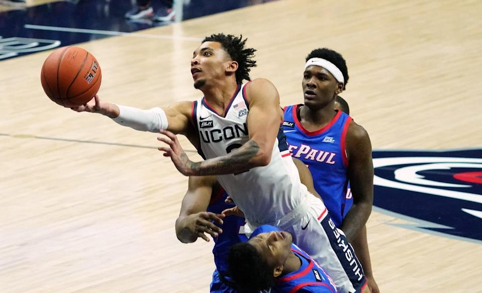 Connecticut Huskies guard James Bouknight (2) shoots against the DePaul Blue Demons in the first half at Harry A. Gampel Pavilion.