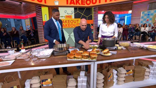 PHOTO: Chef Michael Symon prepared a buttermilk fried chicken sandwich for 'Good Morning America,' Nov. 8, 2019. (ABC News)